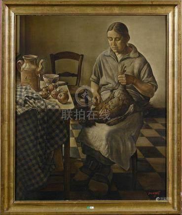 """Huile sur panneau """"Femme plumant un poulet"""". Signé en bas à"""