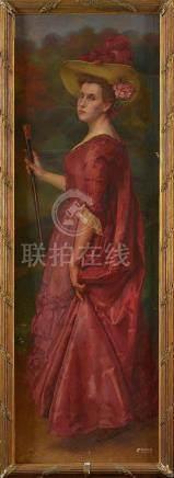 """Huile sur toile """"Portrait en pied d'une élégante au chapeau"""""""