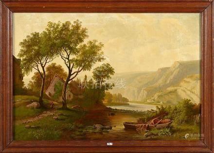"""Huile sur toile """"Paysage en bord de rivière animé"""". Signé en"""
