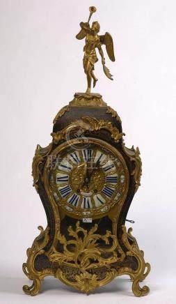 Grand cartel de style Louis XV en écaille brune et cuivre mu