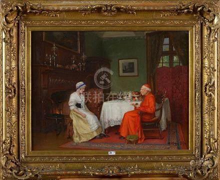 """Huile sur toile """"Cardinal en conversation avec une femme de"""