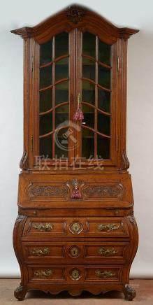 Grand double corps secrétaire de style Louis XV en chêne mas