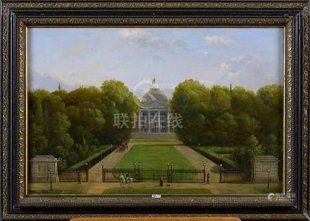 """Huile sur toile """"Le Palais Royal à Laeken"""". Signé en bas à g"""