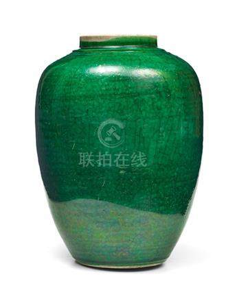 Vase, China, 18. oder 19. Jh. Tonnenförmig, mit eingezogenem