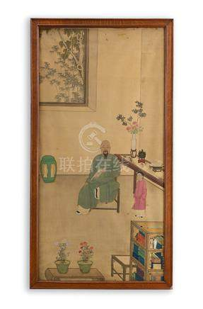 Chinesische Schule, 19. Jh. Mönch mit Schriftrolle in Intéri