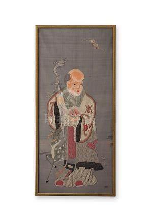 Seidenstickerei, China, um 1900. Sou Lao, Gott des Langen Le