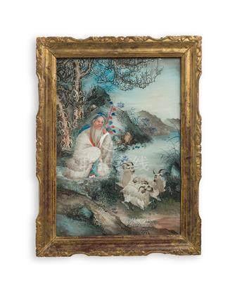 Hinterglasbild, China, 19. Jh. Ein Hirte mit seinen Tieren u