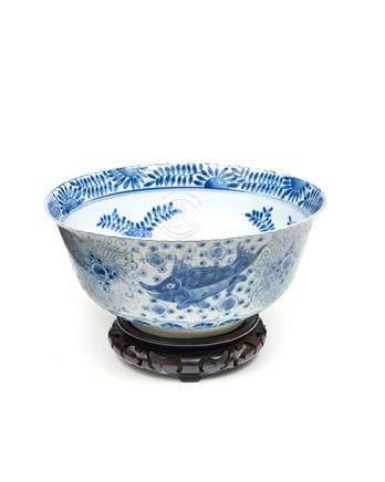 Porzellanschüssel, China, 19. Jh. Unterglasurblau bemalt mi
