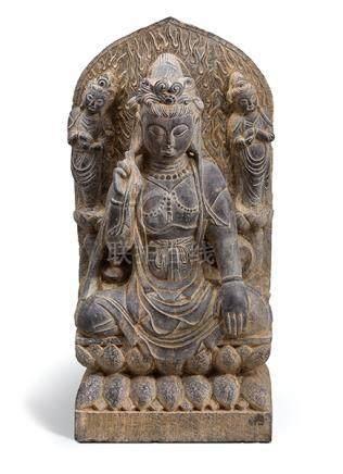 Stele, China, 18. Jh. Schwarzgrauer Kalkstein. Auf Lotossock