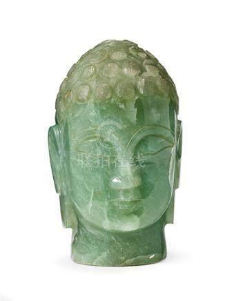 Kopf eines Buddha, Kambodscha, 19. Jh. Aventurin-Quarz. H =