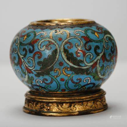 CHINESE CLOISONNE SCHOLAR WATER POT