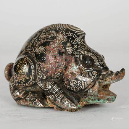 CHINESE GILT SILVER OVER BRONZE BEAST