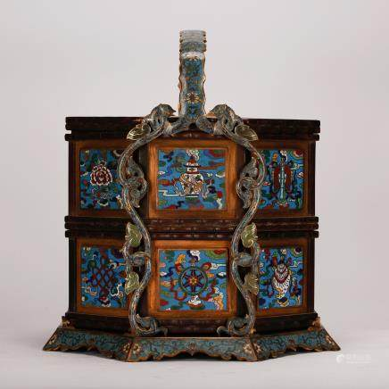 CHINESE CLOISONNE TWO STACKED FOOD BASKET