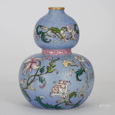 CHINESE FAMILLE ROSE DOUBLE GOURD VASE