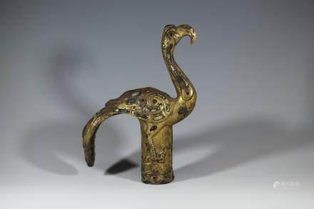 漢代 鎏金鑲寶石杖首