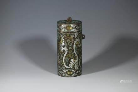 漢代 錯金銀針線盒