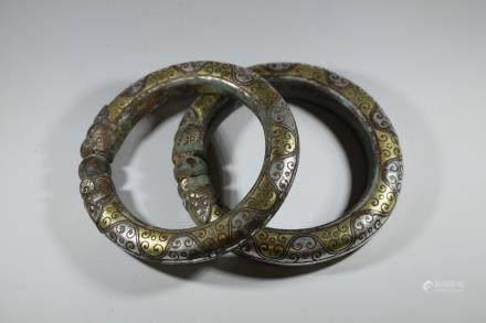 漢代 錯金銀門環(2PC)