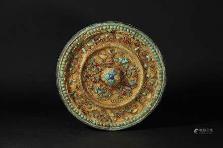 唐 銀鎏金鑲寶石鏡