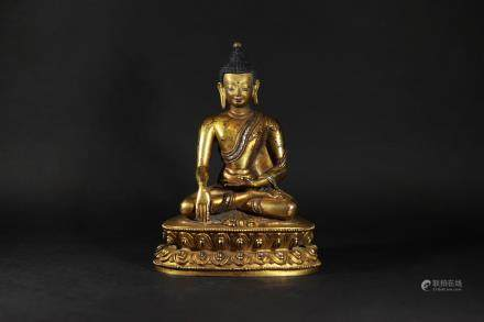 清 銅鎏金鑲銀釋迦摩尼佛像