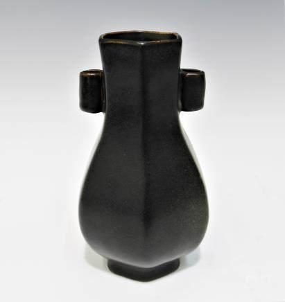 宋 六方雙耳黒釉瓶