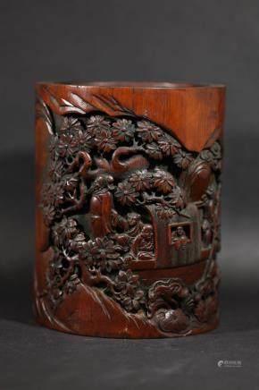 清 赤壁夜遊竹雕