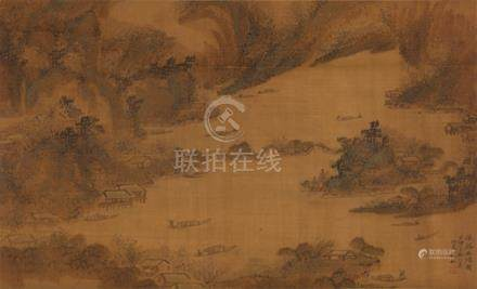钱杜山水(绢本)
