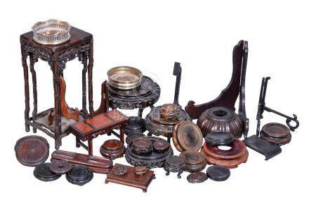 A collection of Chinese and Japanese wood stands, various shapes and sizes (quantity)