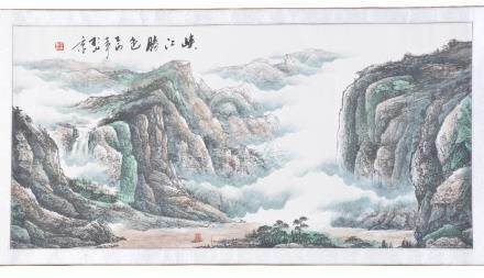 Li Wenxuan, The Three Gorges, scroll painting, ink and colours, signed, image size 61cm x 125cm
