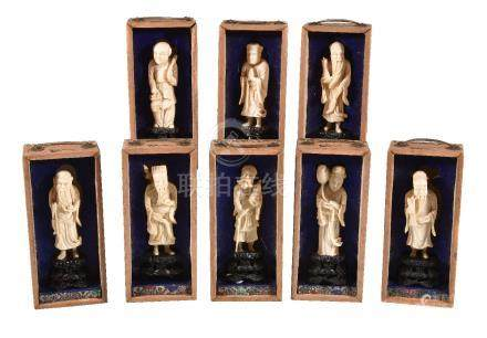 Y A set of eight Chinese ivory carvings of The Eight Immortals, circa 1910-1920, each in separate