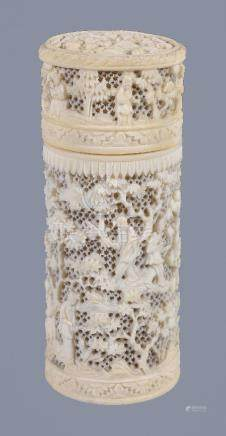 Y A Cantonese ivory openwork container and cover, Qing Dynasty, 19th century, of cylindrical