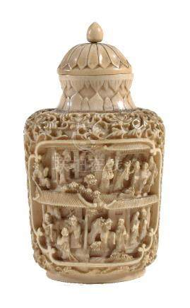 Y A Chinese ivory snuff bottle and stopper, circa 1860-1880, carved in high relief with two panels