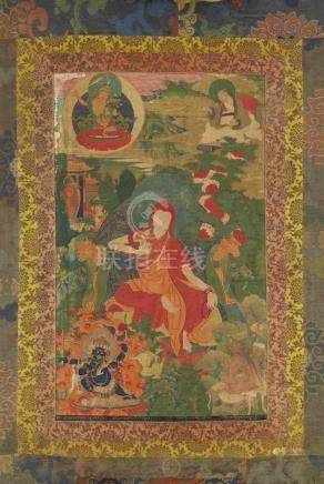 Thangka mit der Darstellung des Sakya Pandita Künga Gyeltshen (1182-1251). 18. Jh. Der Gelehrte