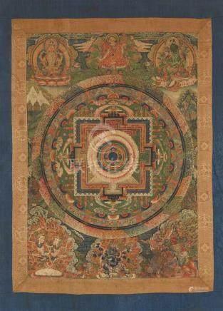 Symbolisches mandala. Tibet. 19. Jh. Der mandala-Palast mit einer Lotosblüte im Zentrum und den vier