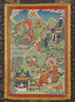 Thangka mit der Darstellung von zwei arhat. Osttibet. 18. Jh. Im oberen Teil thront der meditierende
