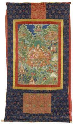 Bedeutendes thangka mit der Darstellung des Panchen Lama Ensapa Lobzang Dondrub (1505 - 1564). Tibet