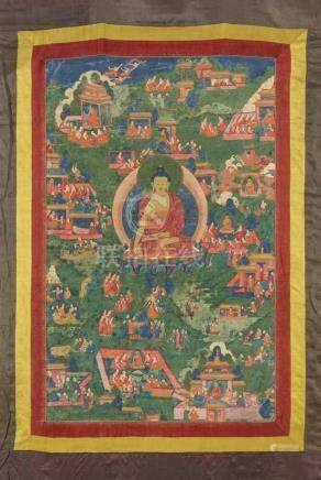 Avadana-thangka des Buddha Shakyamuni. Tibet. 18./19. Jh. Buddha Shakyamuni ist von zahlreichen