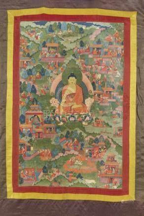 Avadana-thangka des Buddha Shakyamuni. Tibet. 18./19. Jh. Der Buddha sitzt in Meditationshaltung auf