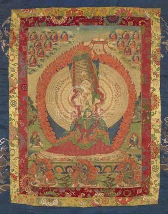 Thangka der Ushnishasitatapatra. Tibet. 19. Jh. Die tausendköpfige und tausendarmige Göttin des