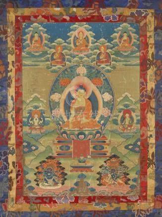 Thangka des Buddha Akshobhya. Tibet. 19. Jh. Seine rechte Hand in bhumisparsa mudra, die linke offen
