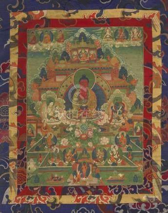 Thangka des Amitabha-Paradieses. Tibet. Spätes 19. Jh. Amitabha thront vor dem Golddachtempel des