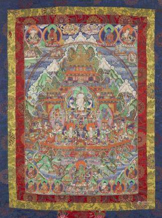 Thangka des Avalokiteshvara-Paradieses auf dem Berg Potalaka. Osttibet oder Mongolei. Um 1900