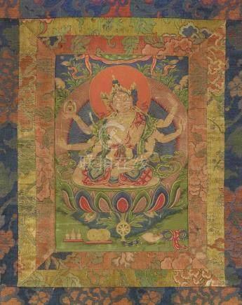 Thangka der Ushnishavijaya. Tibet. 19. Jh. Die achtarmige Göttin mit den drei Gesichtern sitzt in