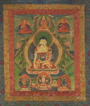 Thangka des Buddha Shakyamuni. Tibet. 19. Jh. Buddha Shakyamuni sitzt auf einem Lotoskissen, die