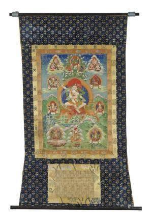 Thangka des Tsongkapa als Dombi Heruka. Tibet. 19. Jh. Tsongkhapa in seiner Erscheinungsform als