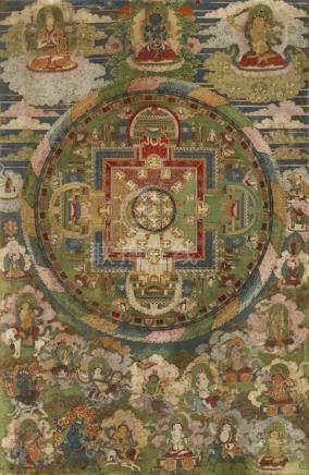 Mandala des Guhyasamaja Akshobyavajra. Tibet. 18./19. Jh. Im Zentrum Guhyasamaja Akshobyavajra,