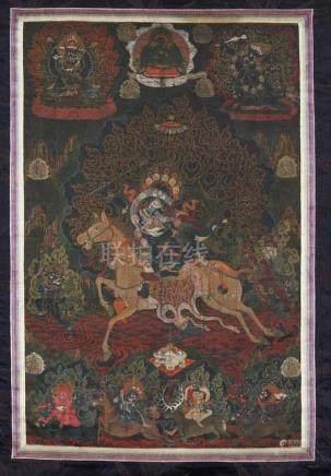 Schwarzgrundiges thangka der Palden Lhamo. Tibet. 19. Jh. Die Schutzgöttin der dalai lamas und