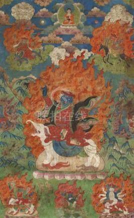 Thangka der fünf großen Könige (mahapancaraja). Tibet. 19. Jh. Gyajin sitzt auf einem weißen