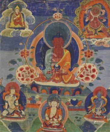 Thangka des Buddha Amitabha. Um 1900 Der Buddha des unermesslichen Lichtglanzes sitzt in vajrasana