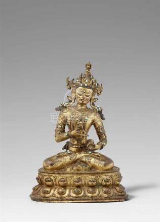 Prächtige Figur des Vajrasattva. Feuervergoldete Bronze. Tibet. 17. Jh. Das Diamantwesen, tib.