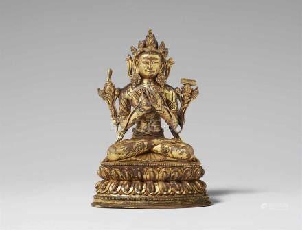 Manjushri. Feuervergoldete Bronze. Tibet. 17./18. Jh. Königlich gekleidet und geschmückt in